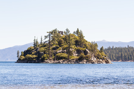 fannette: view of the only island in Lake Tahoe from the shore of emerald bay