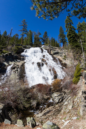 Eagle Falls in Lake Tahoe, California, powerful water flowing over solid rock
