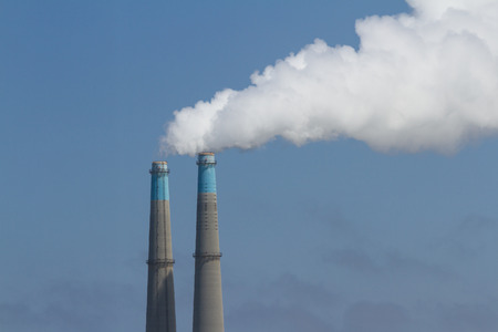 catalytic: tall stacks used in a natural bass power plant in the Monterey Bay area, California