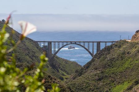 bixby: Bixby Bridge, a landmark in California since 1932, view from the old coastal highway