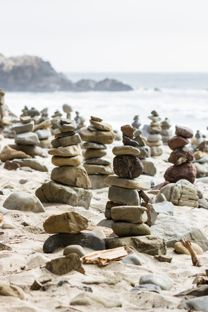 left behind: stacked rocks left behind by people as an art form in the California Coast