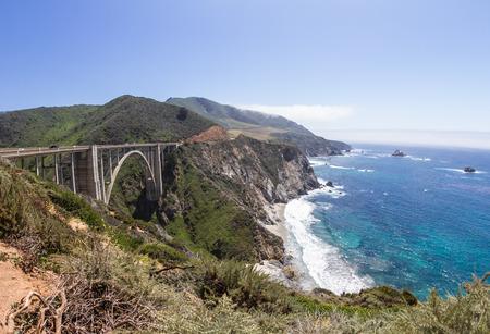 bixby: Classical California coast landscape with Bixby Bridge, and a beautiful dramatic  shoreline