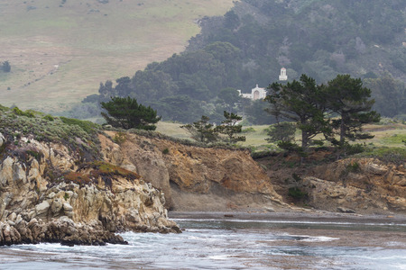 carmel: beautiful monastery in Carmel by the sea California as part of the sea-scape