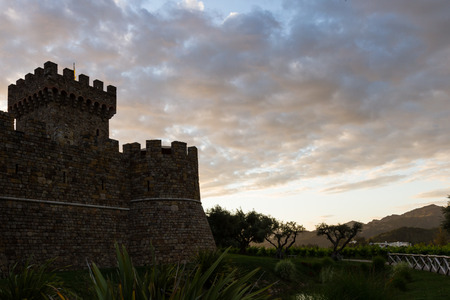napa valley: colorful clouds behind the castle silhouette at sunset in Napa Valley