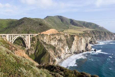 bixby: beautiful coastal landscape in Big Sur California with highway 1 and Bixby bridge