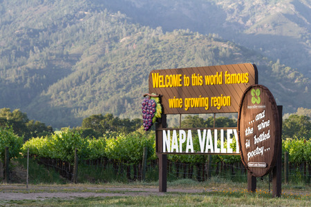 close up of the welcome sign to Napa Valley in California Stok Fotoğraf