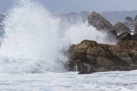 california coast: large rocks and powerful waves in a dramatic display classic of the California coast Stock Photo
