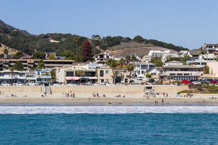 San Luis Obispo, California - May 03 : Beautiful houses lining the front of the beach, view from Avila Pier - May 03 2015 San Luis Obispo, California.