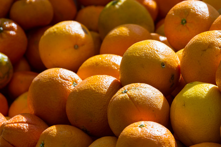 locally: oranges grown locally for sale at a farmers market in Calistoga California Stock Photo