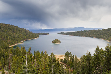 fannette: Emerald Bay in Lake Tahoe with stormy clouds in a Spring afternoon Stock Photo