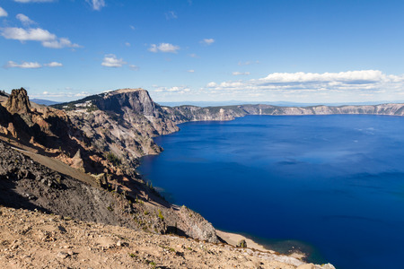 crater lake: Beautiful landscape in Crater Lake with a deep blue color in the lake and a sloping crater