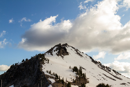 crater lake: fire lookout tower on top of the mountain in Crater Lake National Park