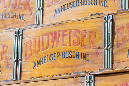 budweiser: Coeur d Alene, Idaho - June 12 : close up of a wooden case with Budweiser, Anheuser Busch Inc on the side, June 12 2015 in Coeur d Alene, Idaho