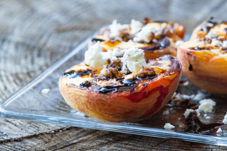 goat peach: grilled, peaches with a balsamic reduction and goat cheese