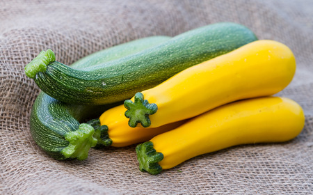 close up of a bunch of fresh picked organic zucchini green and yellow placed on a burlap sac
