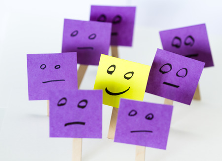 be the change: conceptual image for a be different or be happy concept using sticky notes