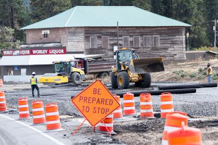 delays: Worley, Idaho - September 15: Road work in the city of Worley causing minor delays, September 15 2015 in Worley, Idaho