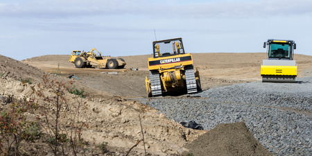 95: Worley, Idaho - September 15: Heavy equipment being used to upgrade highway 95 thru Worley, September 15 2015 in Worley, Idaho