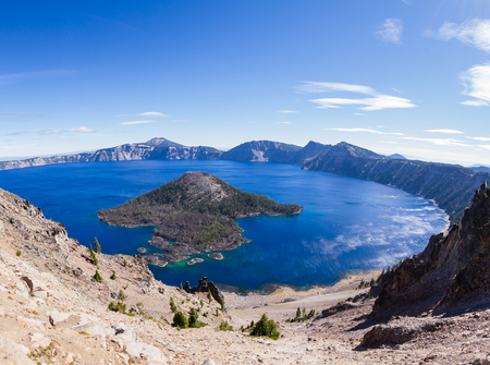 crater lake: beautiful day at Crater Lake National Park in Oregon with beautiful deep blue water