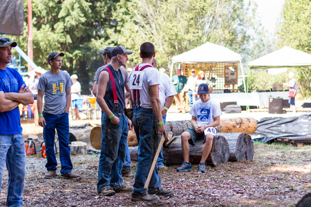 prospect: Prospect, Oregon - August 15: Competitors  getting ready for different events at the Jamboree and Timber Carnival, August 15 2015 in Prospect, Oregon