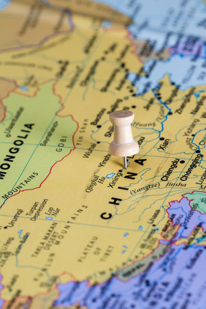 Close up of the country of China on a world map to be used as a concept