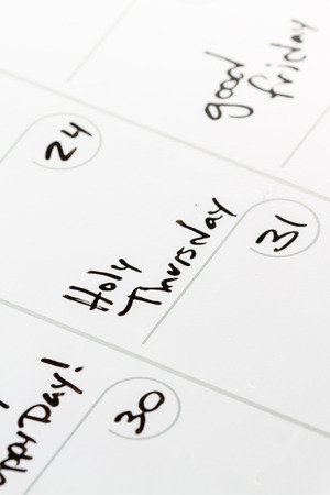 thursday: close up of the words Holy Thursday on a calendar for 2016 Stock Photo