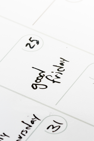 good friday: close up of the words good friday on a calendar for 2016 Stock Photo