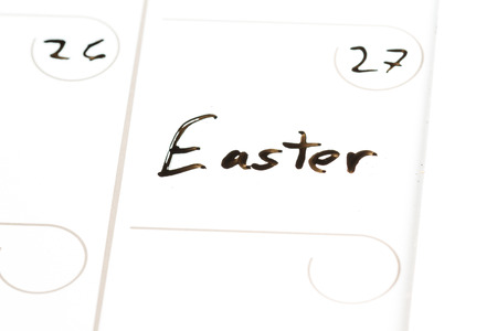 marked: close up of the word Easter marked on a calendar under March 27 2016
