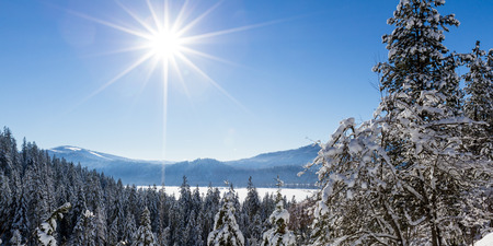 alene: Beautiful view of the forest opening to reveal a piece of lake Coeur d Alene on a beautiful winter afternoon
