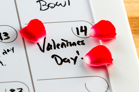 red condom: Day planner or calendar with Valentines day marked written on it
