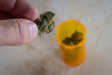 close up of a hand holding medicinal cannabis in a prescription bottle
