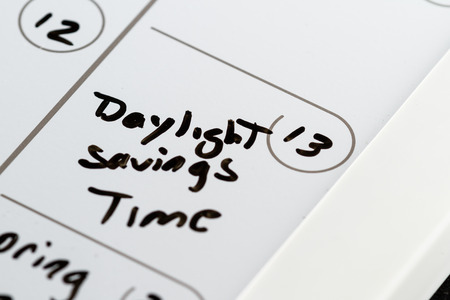 make belief: March 13th on a calendar marked with daylight savings time with aback marker Stock Photo