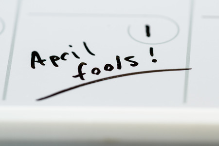 on occasion: the words April fools marked on a day planner as a special occasion