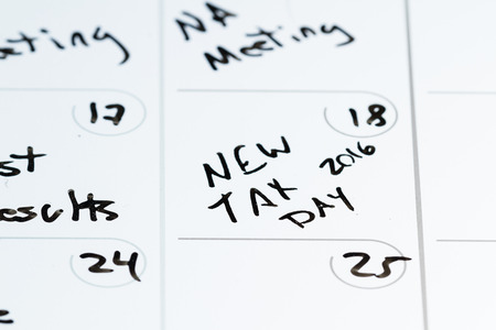 tax: concept for tax day or april 15 the national deadline for filing taxes