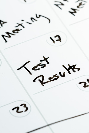 marked: special date marked on a calendar as a concept for receiving test results