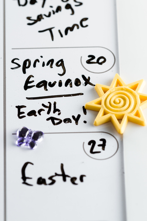 equinox: March 20th marked on a calendar as Spring Equinox and also Earth Day concept for 2016
