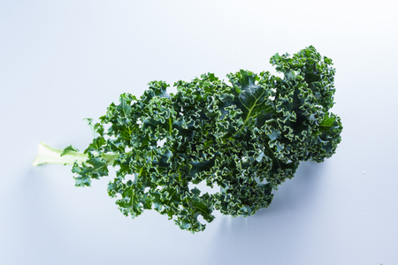 detoxing: close up of a leaf of fresh organic kale on a white background