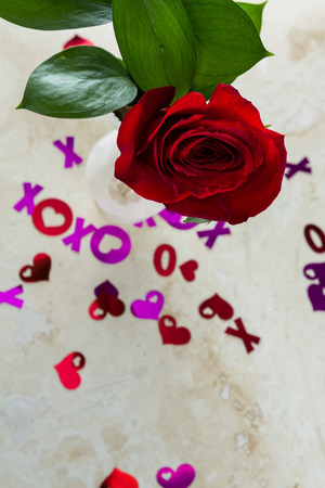 over the counter: romantic display on a kitchen counter with the letters xoxo spilled over the counter