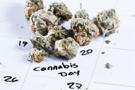close up image for a concept using a calendar, a cannabis bud and a black marker to write the words cannabis day Stock Photo