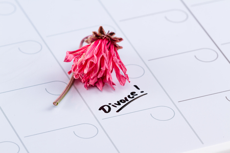 dry erase: the word divorce hand written on a dry erase calendar with a dead flower next to it Stock Photo