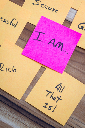 free me: very powerful self help concept using positive messages and a I am floating above all the positive thoughts Stock Photo