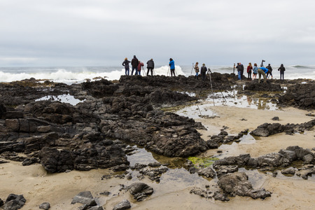 thor's: Cape Perpetua, Oregon - May 19 : Group of photographers waiting for the Ideal moment to photograph Thors Well , May 17 2015 Cape Perpetua, Oregon.