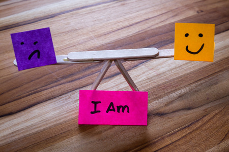 thinking brain: concept for I am, embracing both the negative and he positive parts of self to reach a balance