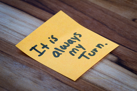 sticky hands: concept for self help using empowering words on a sticky note