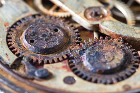 close up of an old pocket watch with rusty gears as a concept