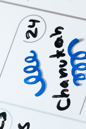 jewish home: close up of a daily planner or calendar with a hand written message for a celebration or holiday Stock Photo
