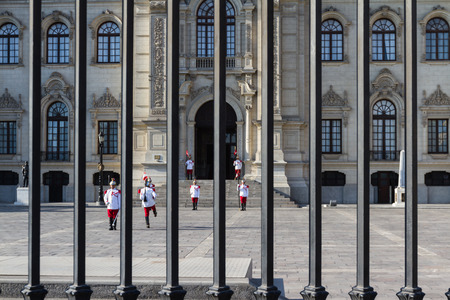 pizarro: Lima - May 10 : Changing of the guards in the Presidential Palace in Lima . May 10 2016 Lima Peru.