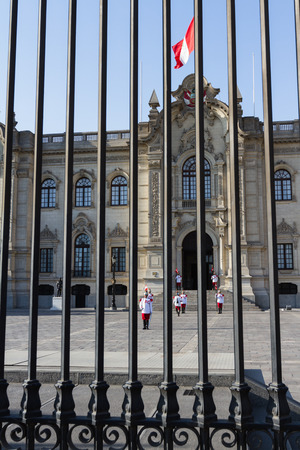 Lima - May 10 : Changing of the guards in the Presidential Palace in Lima . May 10 2016 Lima Peru.