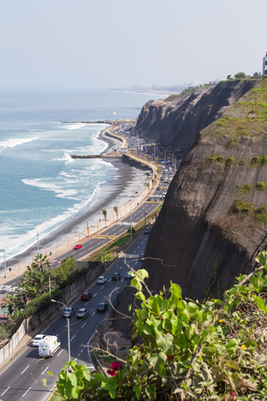 miraflores: Miraflores, Lima - May 10 : Beautiful views of the bay and costal highway, Lima. May 10 2016 Miraflores, Lima Peru.