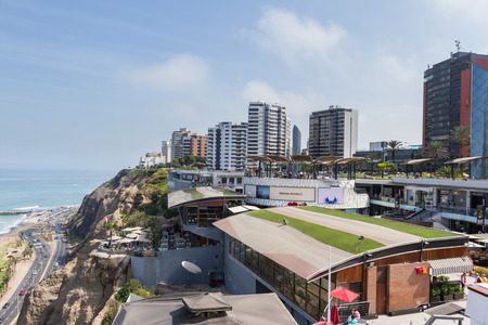 Miraflores, Lima - May 10 : Beautiful view of Larcomar, a multilevel entertainment, food and shopping mega complex, Lima. May 10 2016 Miraflores, Lima Peru.
